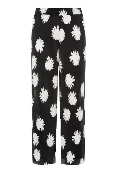 Warehouse, DAISY FLORAL PLISSE CULOTTE Black Pattern 0