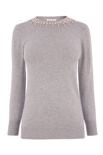 Warehouse, EMBELLISHED PEARL JUMPER Light Grey 0