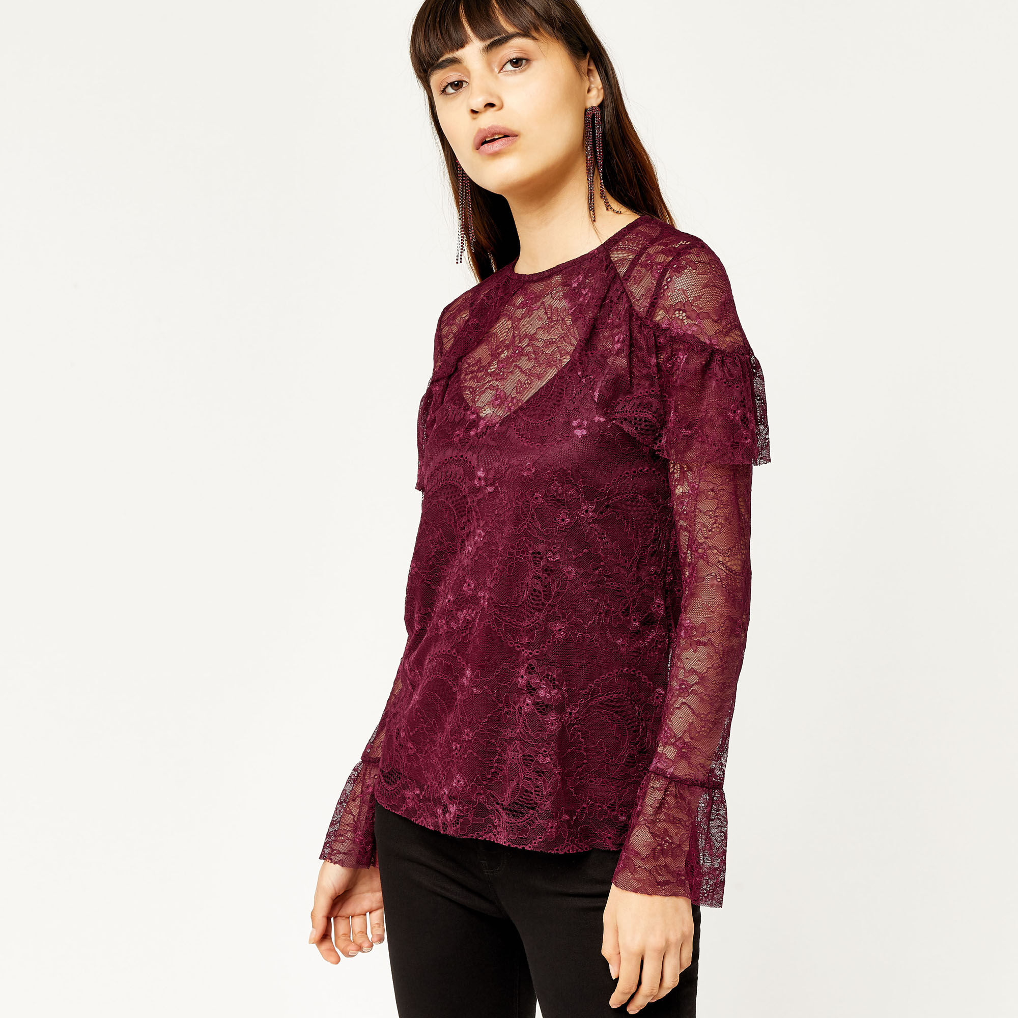 Warehouse, CHANTILLY LACE TOP Dark Red 1