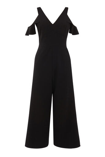 Warehouse, V NECK RUFFLE CREPE JUMPSUIT Black 0