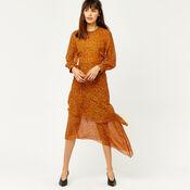 Warehouse, KYOTO FLORAL SILK MIDI DRESS Orange 2