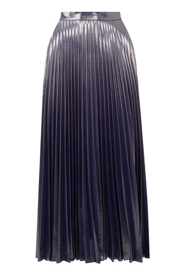 Warehouse, PLEATED LAMÉ SKIRT Silver Colour 0