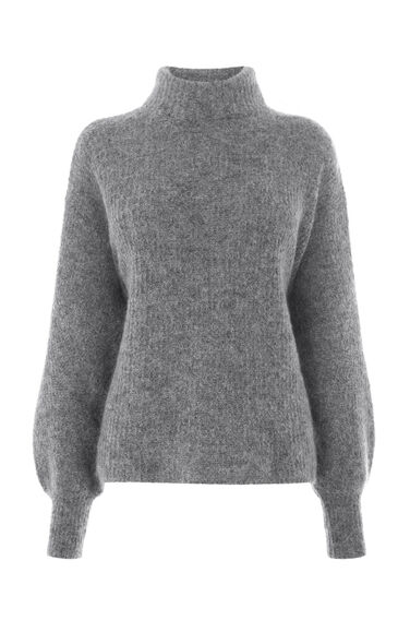 Warehouse, BELL SLEEVE MOHAIR JUMPER Dark Grey 0