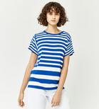 Warehouse, STRIPE PANEL CUTABOUT TEE Blue Stripe 4