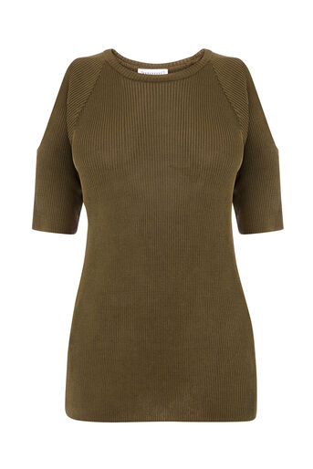 Warehouse, RIBBED COLD SHOULDER TOP Khaki 0