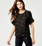 Warehouse, HEART EMBROIDERED TOP Black Pattern 1