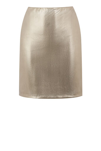 Warehouse, METALLIC FAUX LEATHER SKIRT Gold Colour 0
