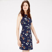 Warehouse, SPACED FLORAL SHIFT DRESS Navy 1
