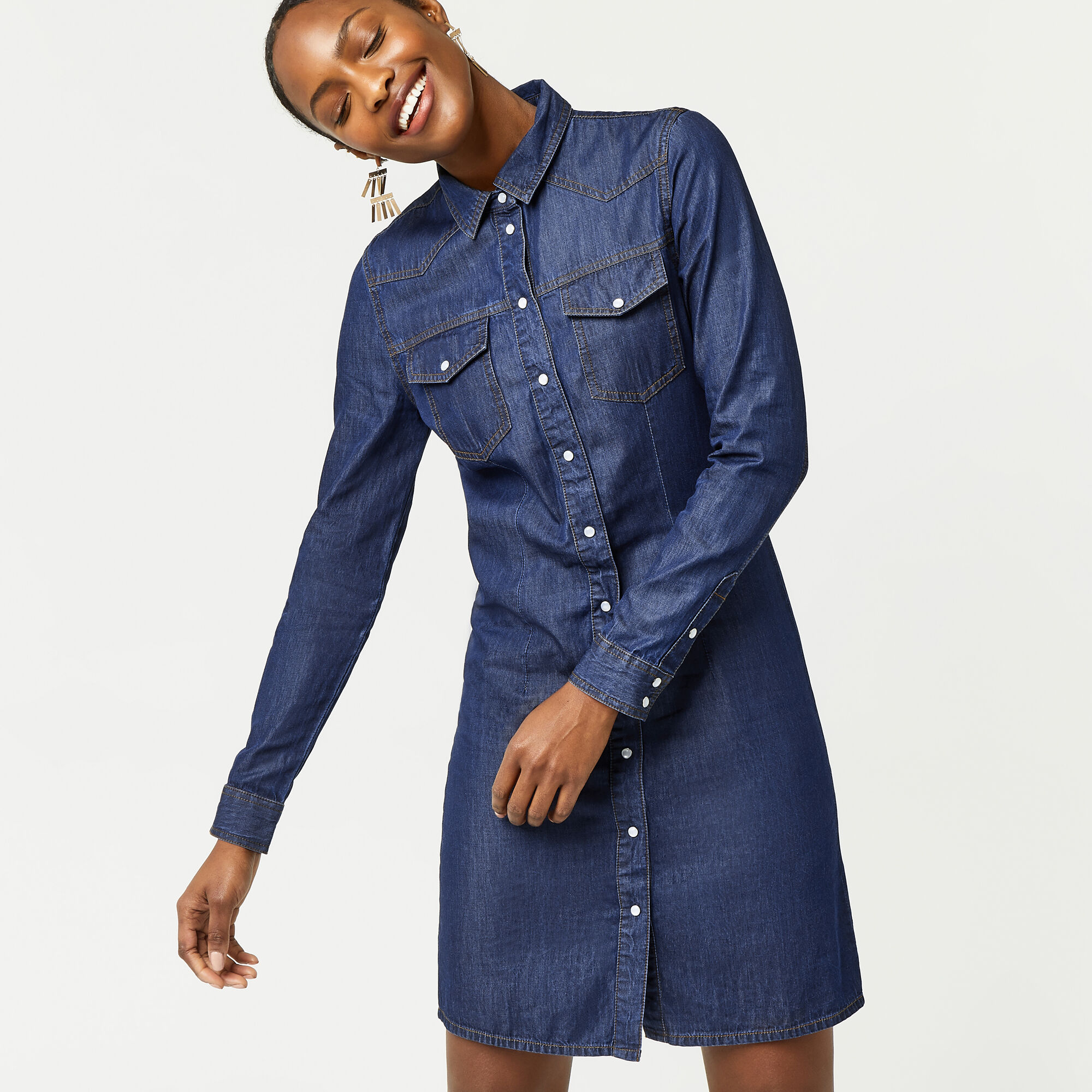 Warehouse, WESTERN SHIRT DRESS Dark Wash Denim 1