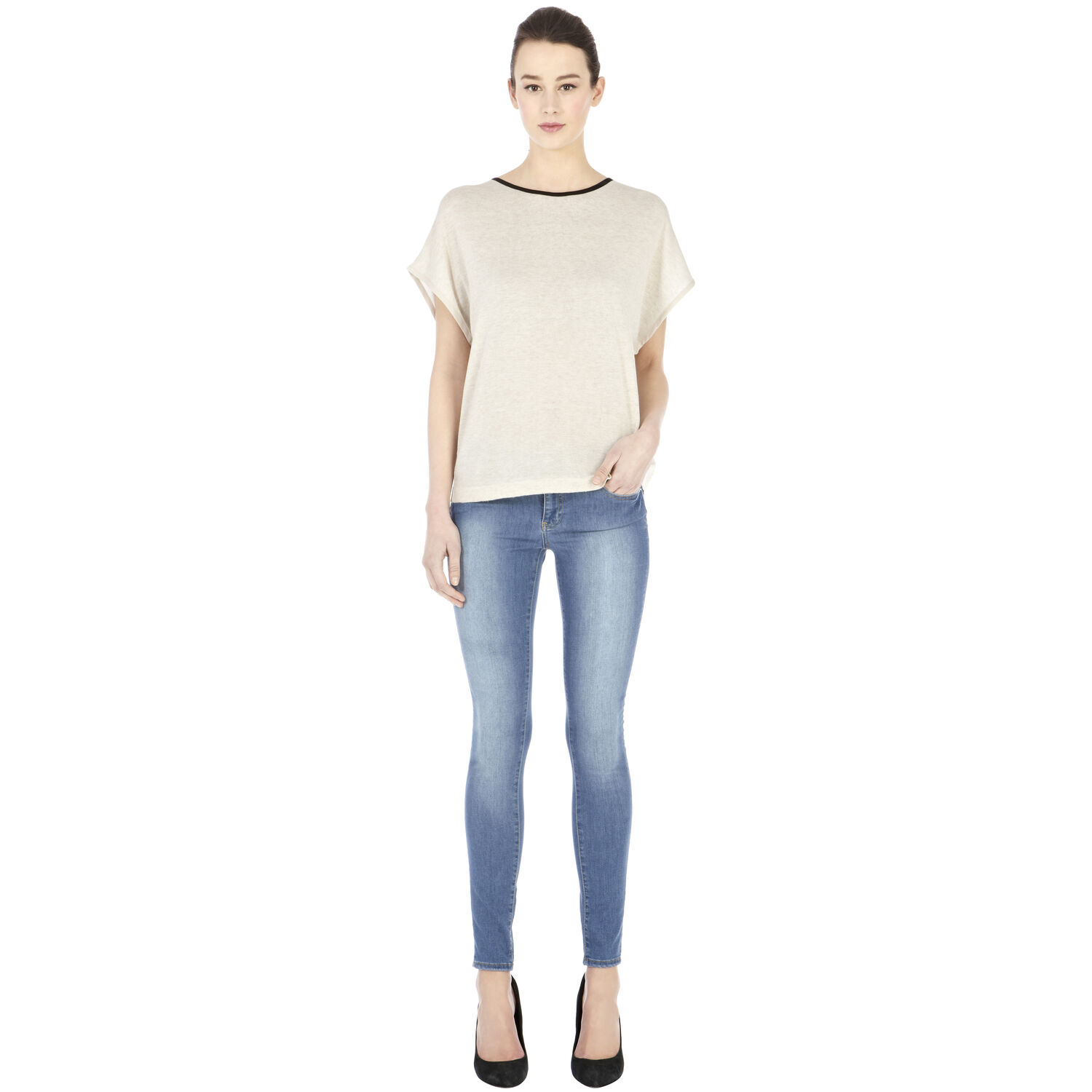 Warehouse, Lace And Pu Woven Back Jumper Cream 1