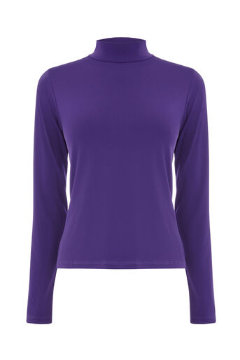 Warehouse, PLAIN POLO TOP Dark Purple 0