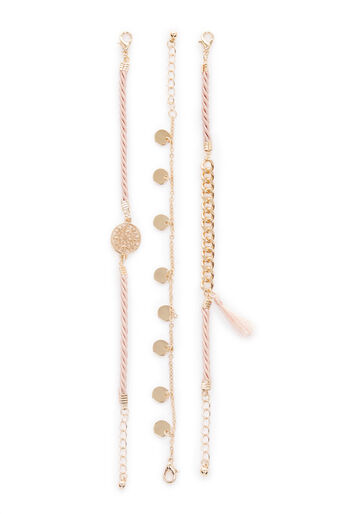 Warehouse, TRIPLE MIXED ROW BRACELET PACK Light Pink 0