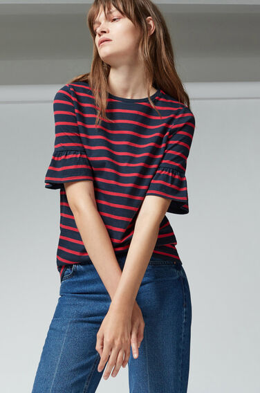 Warehouse, STRIPE FLUTE SLEEVE TEE Red Stripe 1