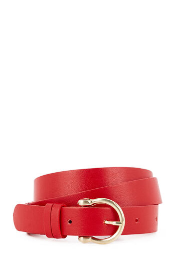 Warehouse, SKINNY METAL KEEPER BELT Bright Red 0