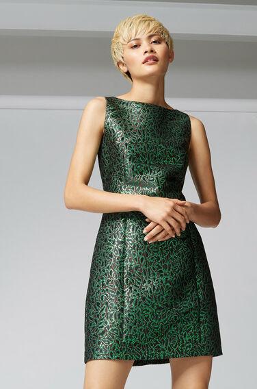 Warehouse, DISCO LEOPARD JACQUARD DRESS Bright Green 1