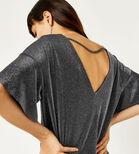 Warehouse, METALLIC TUNIC DRESS Silver Colour 4