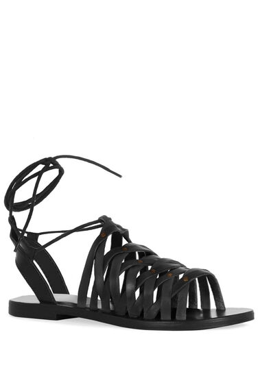 Warehouse, Strappy Tie Sandal Black 0