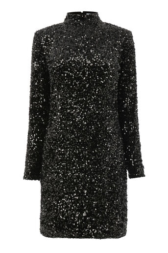 Warehouse, VELVET SEQUIN HIGH NECK DRESS Black 0