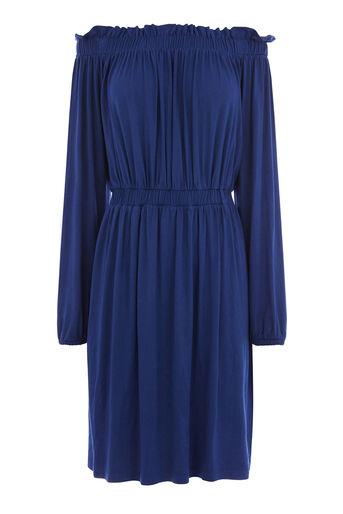 Warehouse, OFF SHOULDER DRESS Bright Blue 0