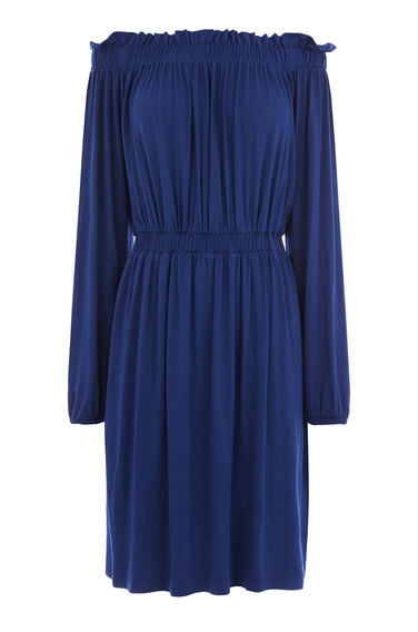Warehouse, OFF SHOULDER DRESS Bright Blue 0