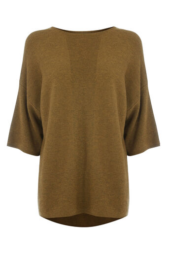 Warehouse, RIB PANEL KNITTED TOP Mustard 0