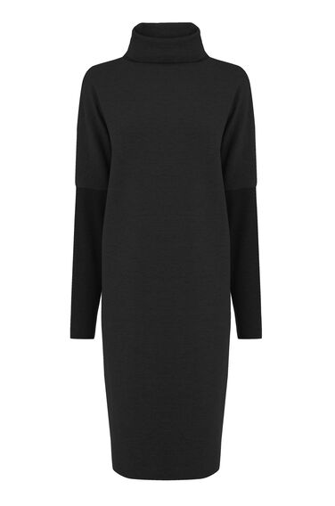 Warehouse, RIB DETAIL ROLL NECK DRESS Black 0