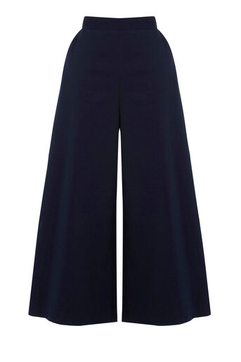 Warehouse, CROPPED WIDE LEG TROUSERS Navy 0