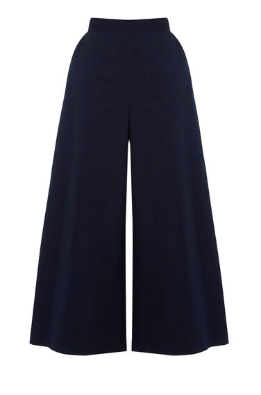 Warehouse, CROPPED WIDE LEG TROUSER Navy 0