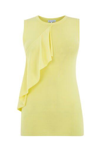 Warehouse, SLEEVELESS RUFFLE FRONT TOP Lemon 0