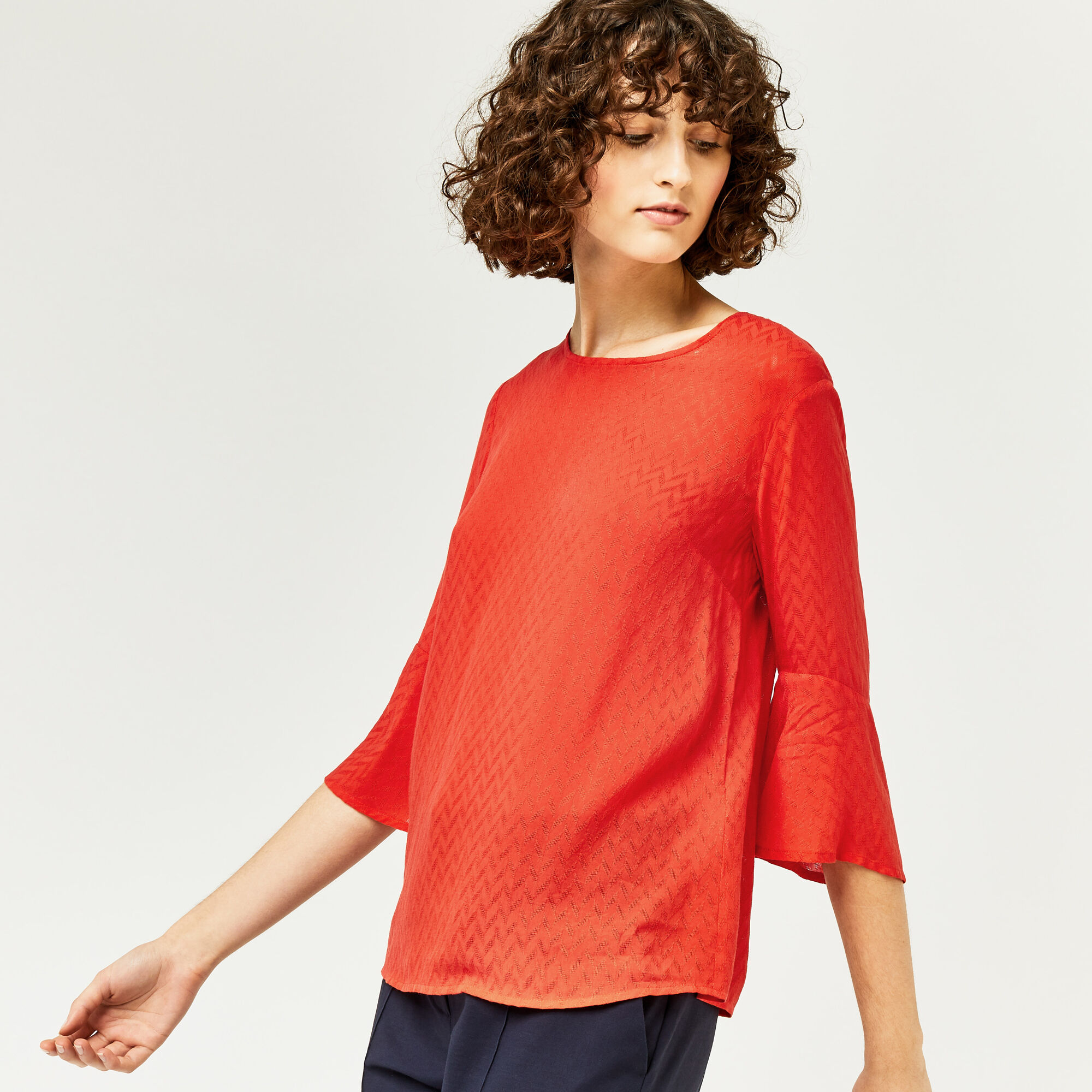Warehouse, FLUTED SLEEVE TEXTURED TOP Bright Red 1