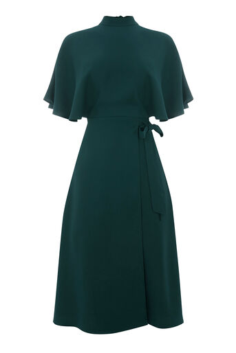 Warehouse, CAPE BACK DRESS Dark Green 0