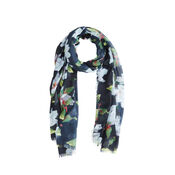 Warehouse, MAGNOLIA PRINTED SCARF Black Pattern 0