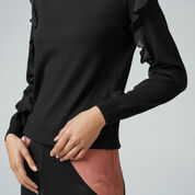 Warehouse, FRILL SLEEVE JUMPER Black 1