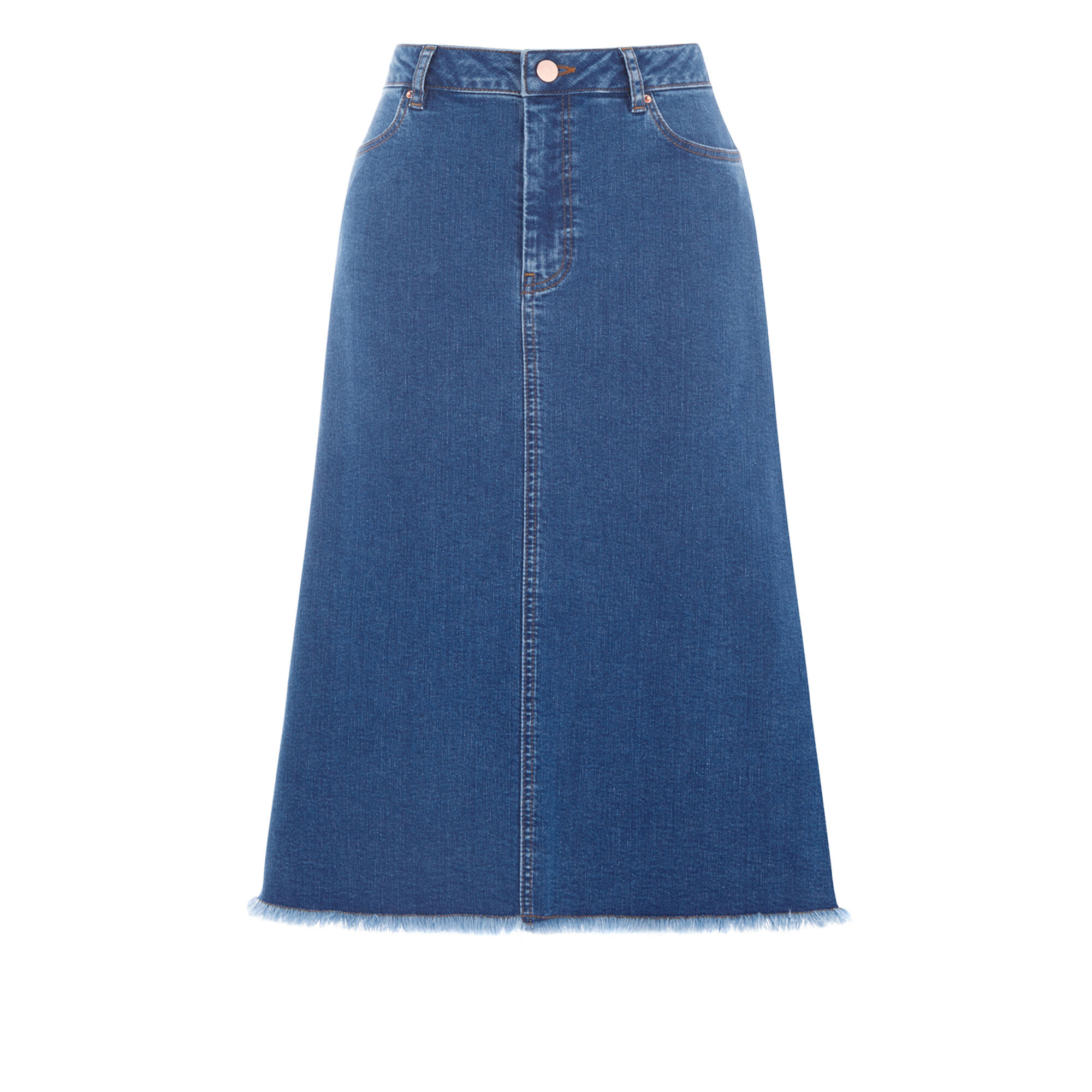 FLARED DENIM MIDI SKIRT