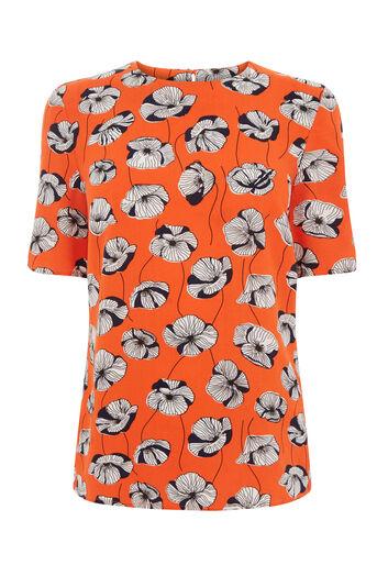 Warehouse, Luchtig gebloemd T-shirt Oranje 0