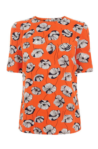 Warehouse, FLOATING FLORAL T-SHIRT Orange 0