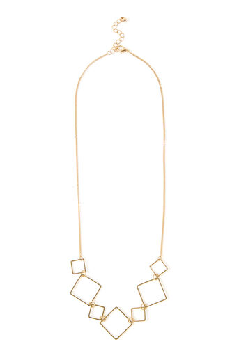 Warehouse, INTERLOCK SQUARE NECKLACE Gold Colour 0