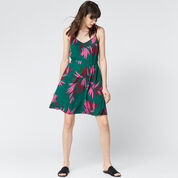 Warehouse, GRAPHIC PALM STRAPPY DRESS Green Print 2