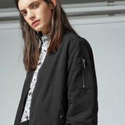 Warehouse, Wadded Bomber Jacket Black 4