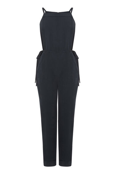 Warehouse, Utility Tie Side Jumpsuit Navy 0