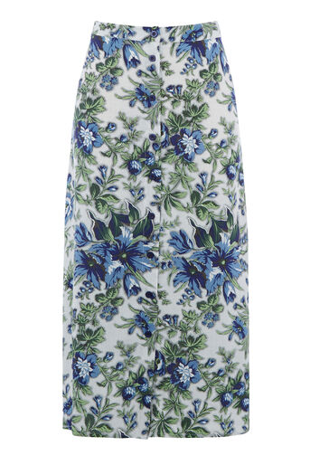 Warehouse, LILY PRINT MIDI SKIRT Neutral  Print 0