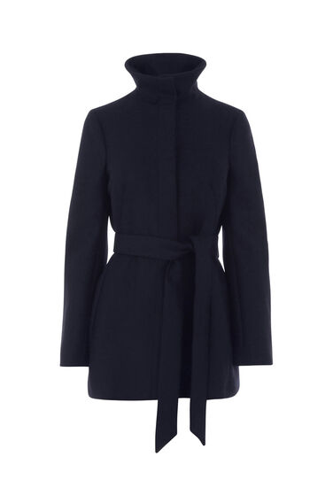 Warehouse, SHORT FUNNEL BELTED COAT Navy 0