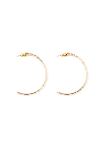 Warehouse, HAMMERED HOOP EARRINGS Gold Colour 0