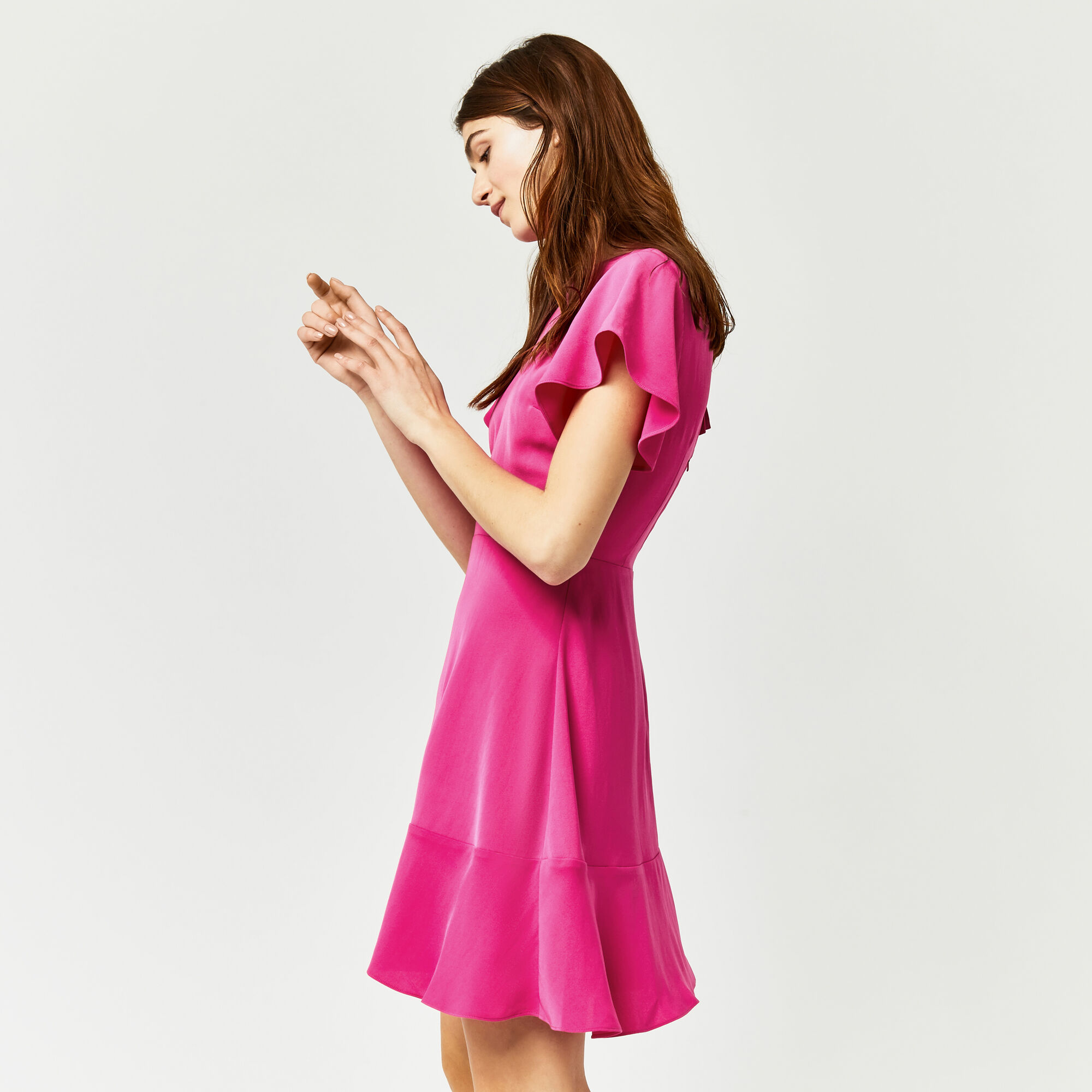 Warehouse, FLARED SLEEVE SKATER DRESS Bright Pink 1