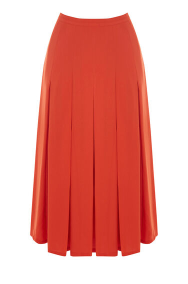 Warehouse, BOX PLEAT SKIRT Orange 0