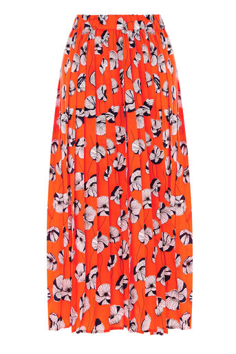 Warehouse, FLOATING FLORAL SKIRT Orange 0