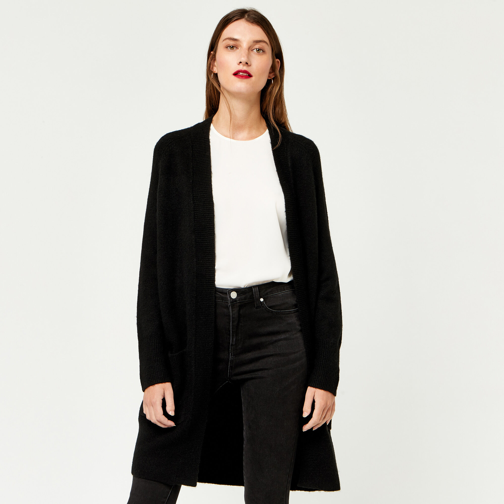 Warehouse, SOFT LONG LINE CARDI Black 1