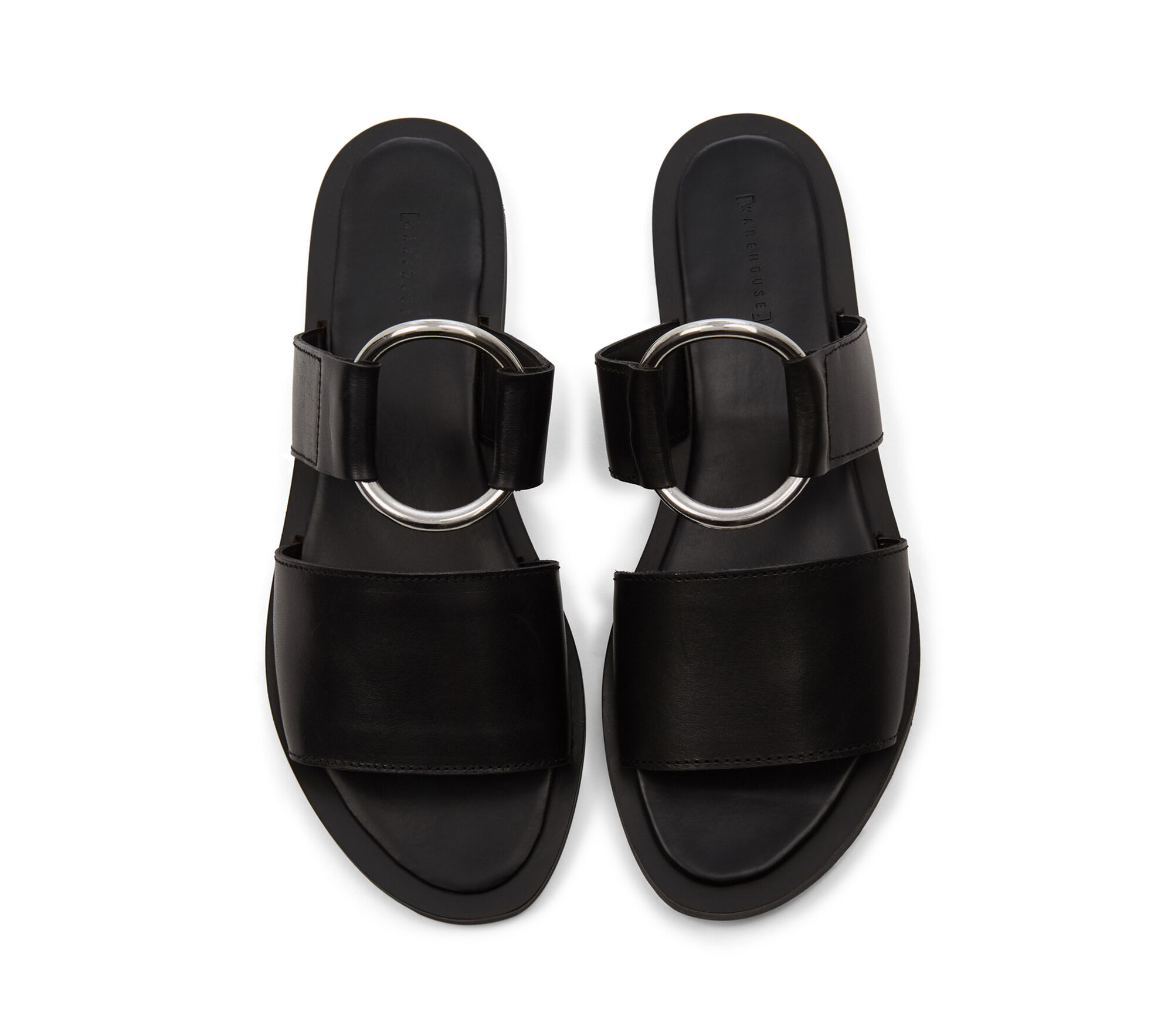 Warehouse, RING DETAIL LEATHER SANDALS Black 1
