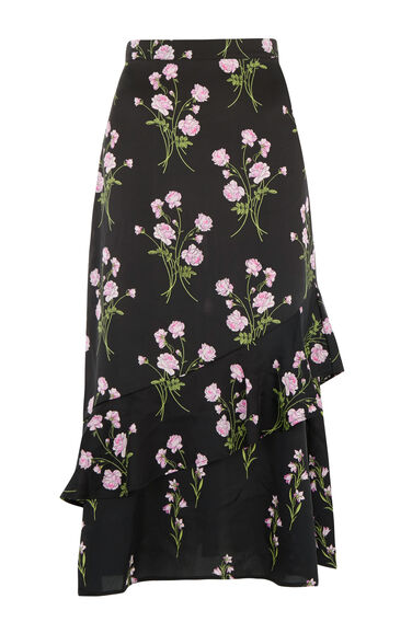Warehouse, ENGLISH ROSE SKIRT Black Pattern 0