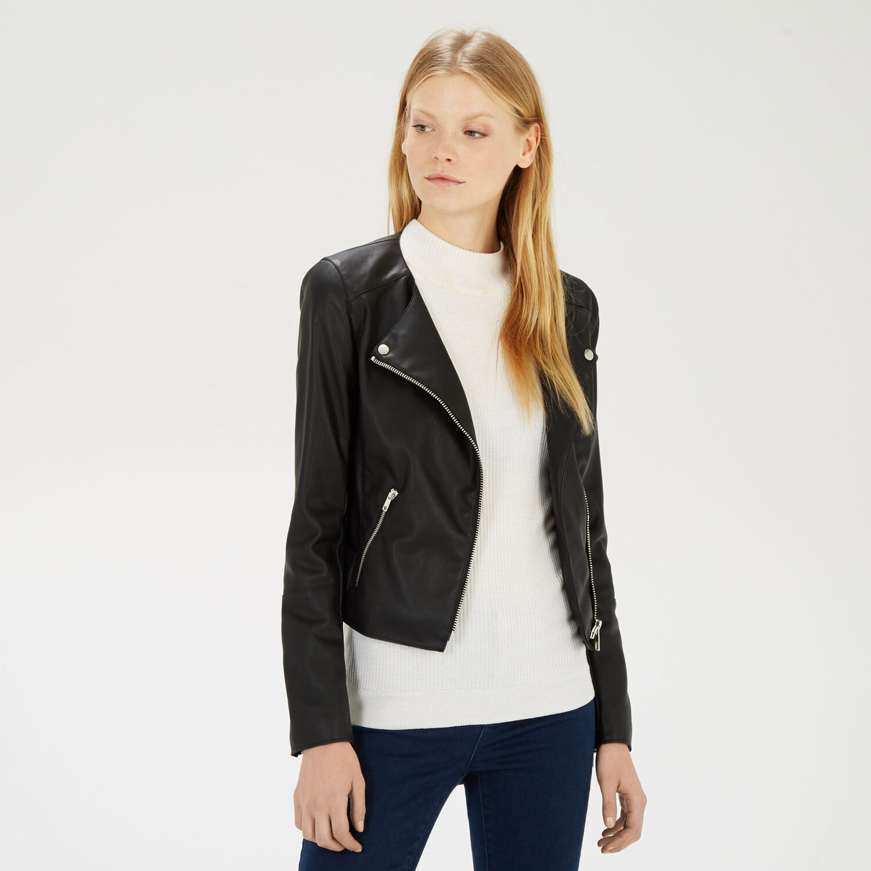 Warehouse, Collarless Faux Leather Biker Black 1
